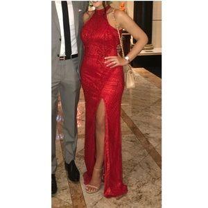 Primavera - Red Beaded Sequin Gown